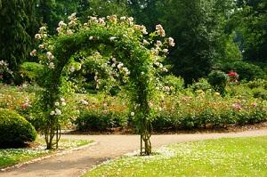 Ein Rosenbogen ist ein herrlicher Blickfang im Garten