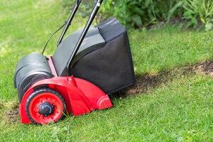Eine Behandlung mit dem Vertikutierer tut dem Rasen gut