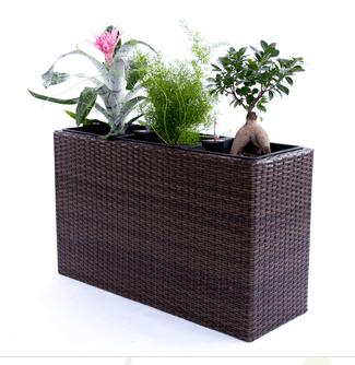 Pflanzkübel aus Polyrattan – modische Gartenutensilien
